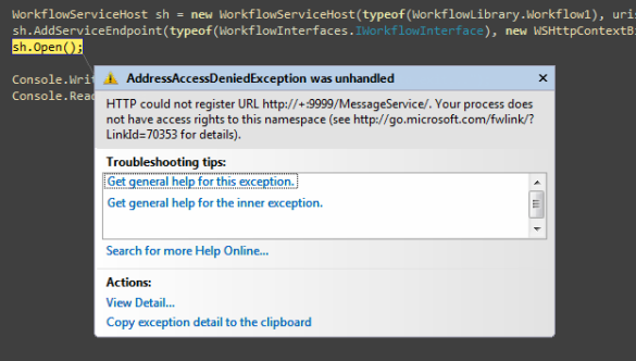 AddressAccessDeniedException in Visual Studio 2008
