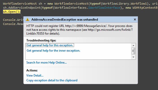 AddressAccessDeniedException in Visual Studio 2008